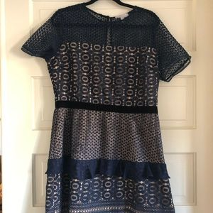 Navy/Sapphire Velveteen Belt Lace Sheath Dress